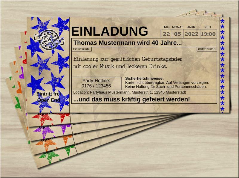 Einladungskarten Vintage Old Big Star Blau