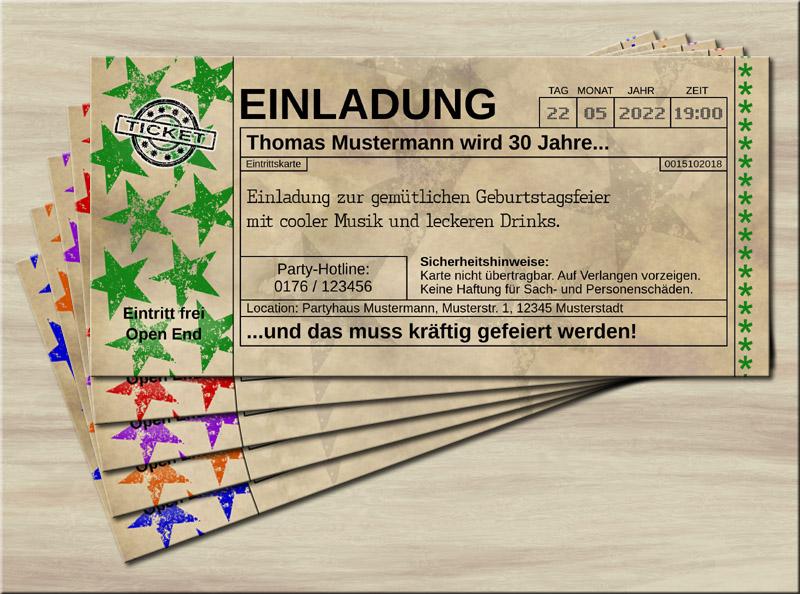 Einladungskarten Vintage Old Big Star Grün